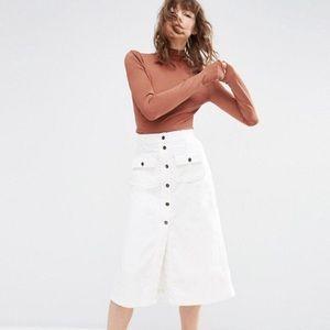 ASOS Cord Button Through Midi Skirt in White UK12